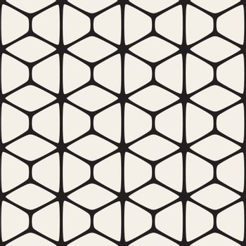 Vector Seamless Black And White Rounded Shapes Pattern. Abstract Geometric Background Design