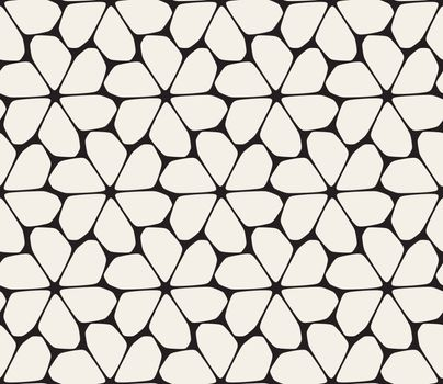 Vector Seamless Black and White Rounded Lace Petal Pattern. Abstract Geometric Background Design