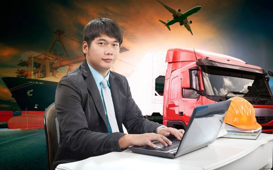 working man in all in one import export transportation logistic business