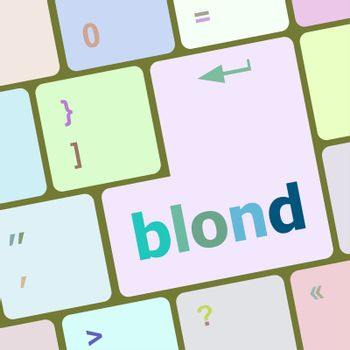 blond word on keyboard key, notebook computer button