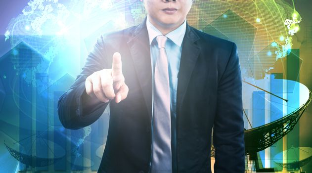 young business man and satellite dish and communication technology background