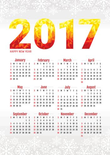 2017 office calendar with snowflakes