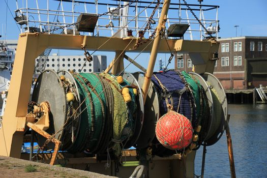 Fishing nets on a mid size trawler