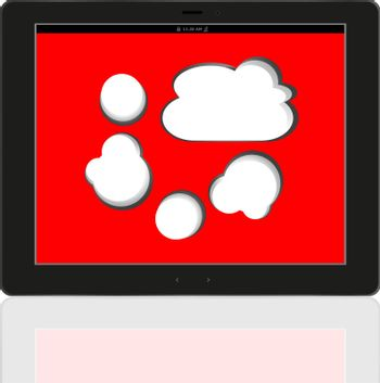 Cloud-computing connection on the digital tablet pc. Conceptual image