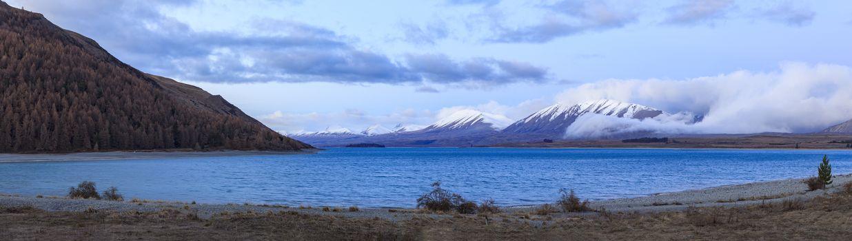 beautiful scenic of lake pukaki important traveling destination in south island new zealand