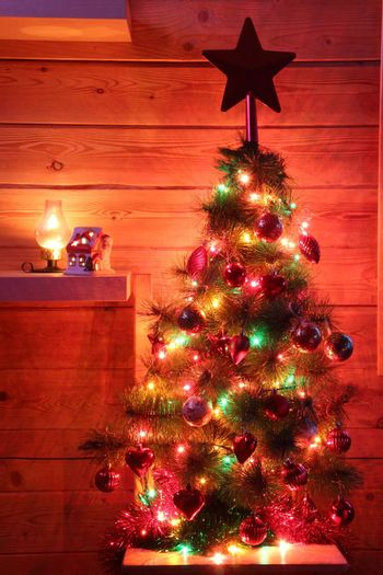 Christmas, New Year's fir tree decorated with toys and lights