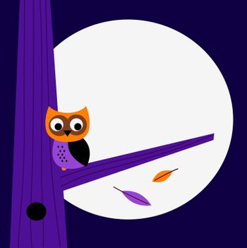 Halloween creative owl for creative projects. Purple illustration.