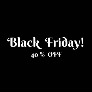 Marketing sign for eshops : black and white designers visual with 40 % Off.