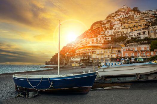 beautiful scenic of positano beach sorrento town south italy imp