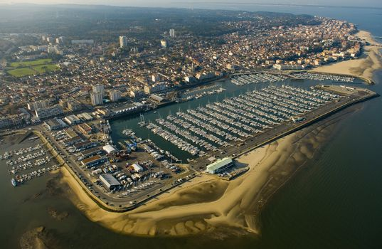 Aerial view, Boats parked in the Port of Arcachon, Aquitaine