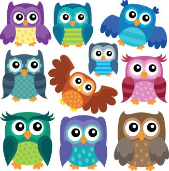 Owl theme collection 1 - eps10 vector illustration.