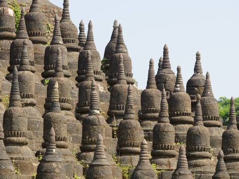 Detail of the Koe-Thaung temple, the temple of 90,000 Buddha images, in Mrauk U, Rakhine State, Myanmar