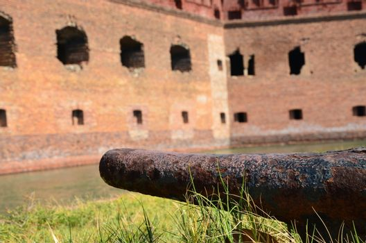 An old fort located on the island of Dry. Tortugas. This is off the coast of Florida.It served as fort and prison during the Civil War.You can only get there from a boat or plane