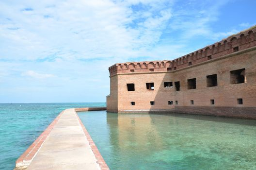 An old fort located on the island of Dry. Tortugas. This is off the coast of Florida.It served as fort and prison during the Civil War.