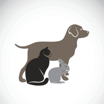 Vector group of pets - Dog, Cat, Rabbit, isolated on white background, Vector illustration. Pet Lovers