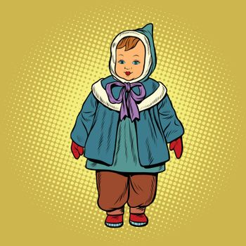toddler retro clothes doll, pop art vector illustration. Childhood and fashion