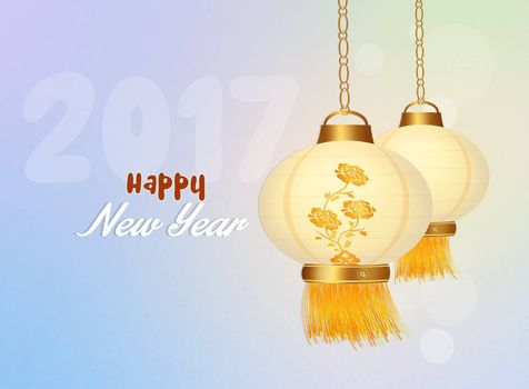illustration of Chinese lanterns for the New Year