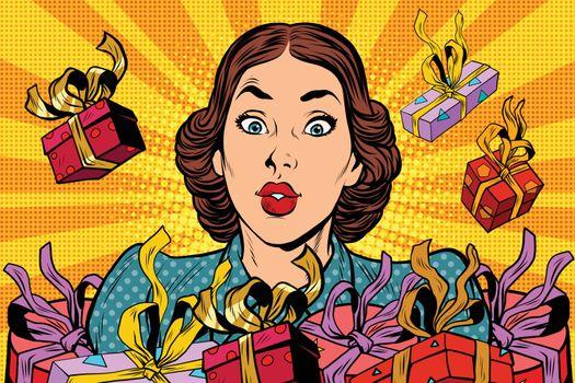 Beautiful retro girl and holiday sales. Pop art vector illustration