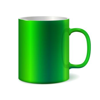 Green ceramic mug for printing corporate logo. Cup isolated on white background. Vector 3D illustration. Dark color