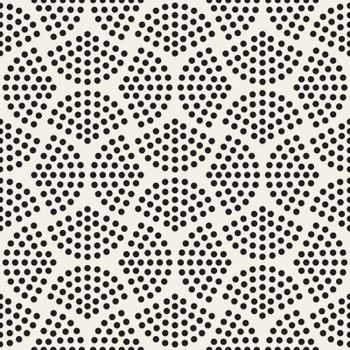 Vector Seamless Black And White Halftone Circles Pattern. Abstract Geometric Background Design