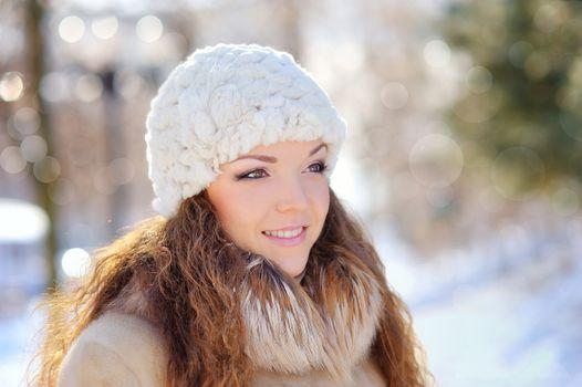 Beautiful girl in winter - close up