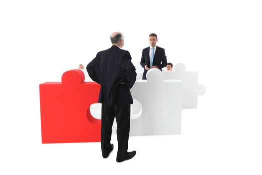 Confused shocked, surprised worker apologizes to manager, part of puzzle team concept, isolated on white