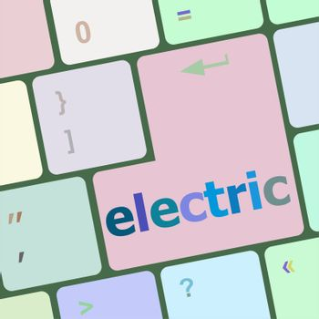 electric word on keyboard key, notebook computer button
