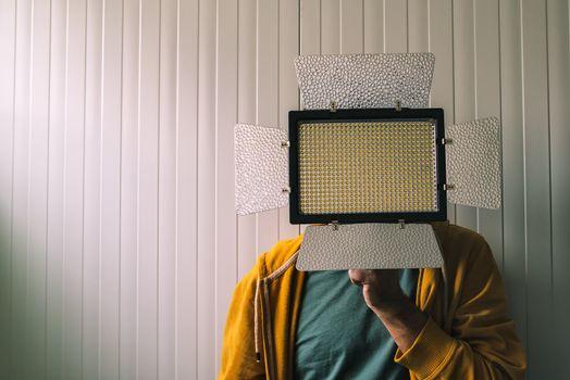 Man posing with led lighting