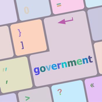 goverment word on keyboard key, notebook computer button