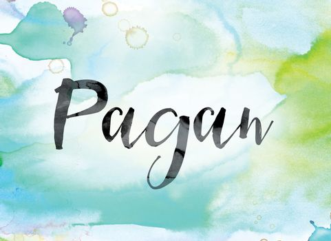 Pagan Colorful Watercolor and Ink Word Art