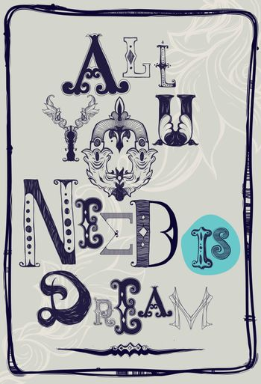 Motivation in vintage baroque. Grunge Font composition