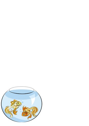 Illustration of two stylized Golden fish in the aquarium
