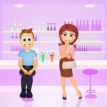 illustration of people in the bar