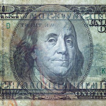 One hundred dollar bill closeup in transmission