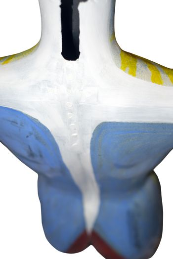 painted back of a mannequin full female torso in an artist studio