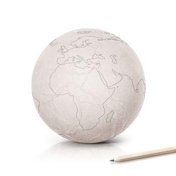 Stroke Europe map on paper globe on white background