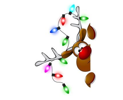 Cartoon reindeer on greeting cards with Christmas.