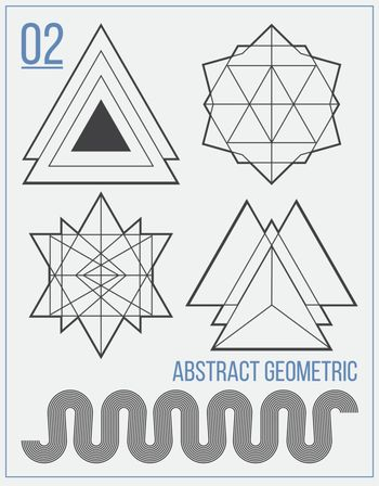 Set with separate abstract vector figures with title