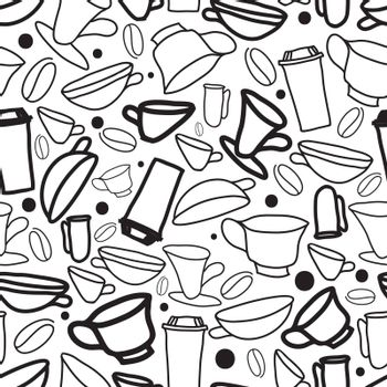 Hand drawn coffee with black and white seamless pattern on white, simple trendy doodles