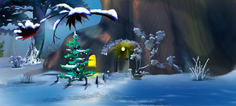 Christmas Tree near a Fairy Tale Gnome House