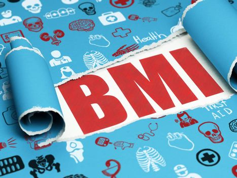 Medicine concept: red text BMI under the curled piece of Blue torn paper with  Hand Drawn Medicine Icons, 3D rendering