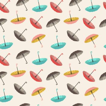 Vector background collection of different fashion umbrellas in flat style- illustration