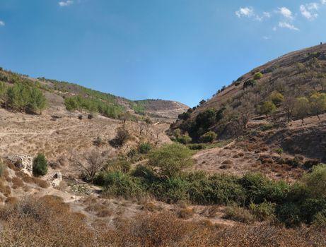 Brown Mediterranean hills in autumn