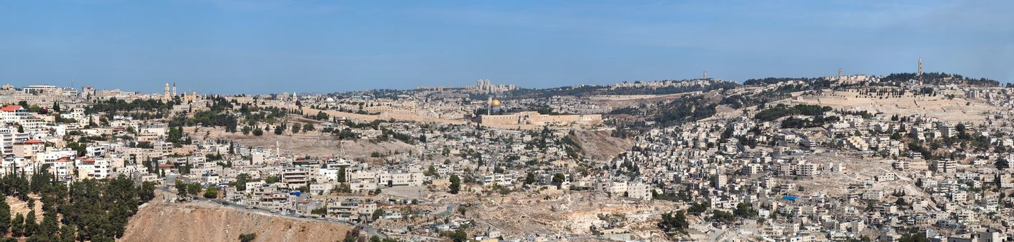 Panorama of Jerusalem with Temple Mount in the center