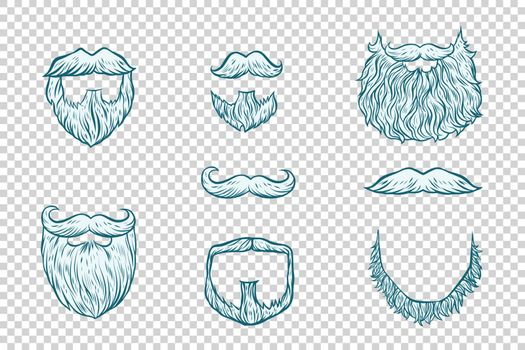 Set of beard and mustache Santa Claus