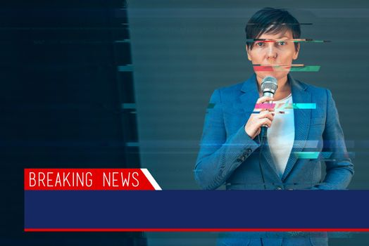 Breaking news with digital glitch effect