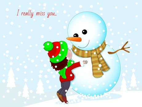 Little girl and snowman. Baby hugging a snowman.
