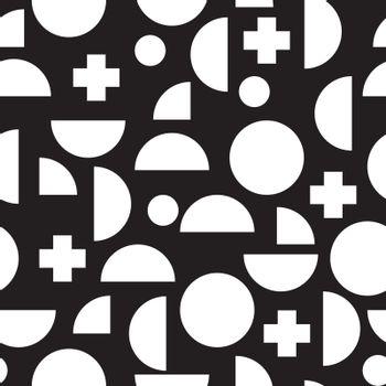 Modern seamless pattern with simple geometric figures in Memphis style,  perfect for web background or print wrapping decoration and fashion textile, fabric design.