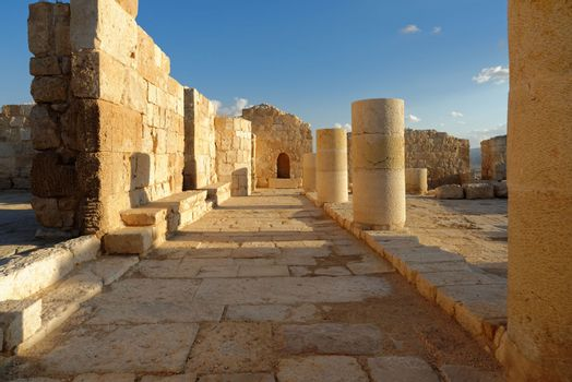 Scenic ruins of ancient temple at sunset (Ovdat, Israel)