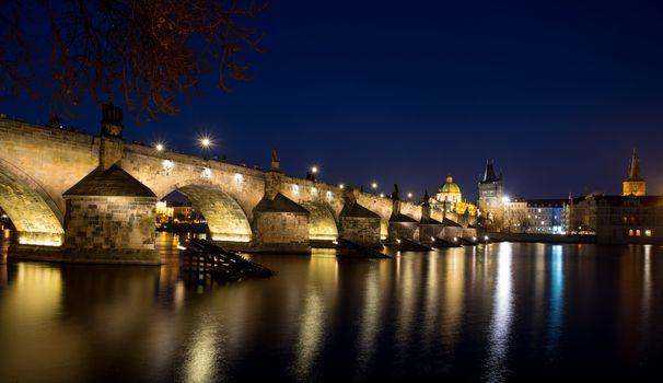 Night photo of Prague Old Town (Smetanovo Nabrezi)